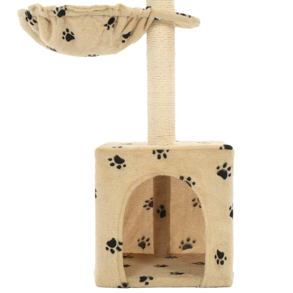 Drapak dla kota z sizalowymi słupkami, 105 cm, beżowy w łapki