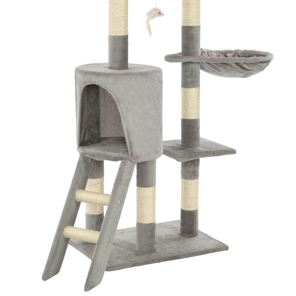 Drapak dla kota z sizalowymi słupkami, 138 cm, szary