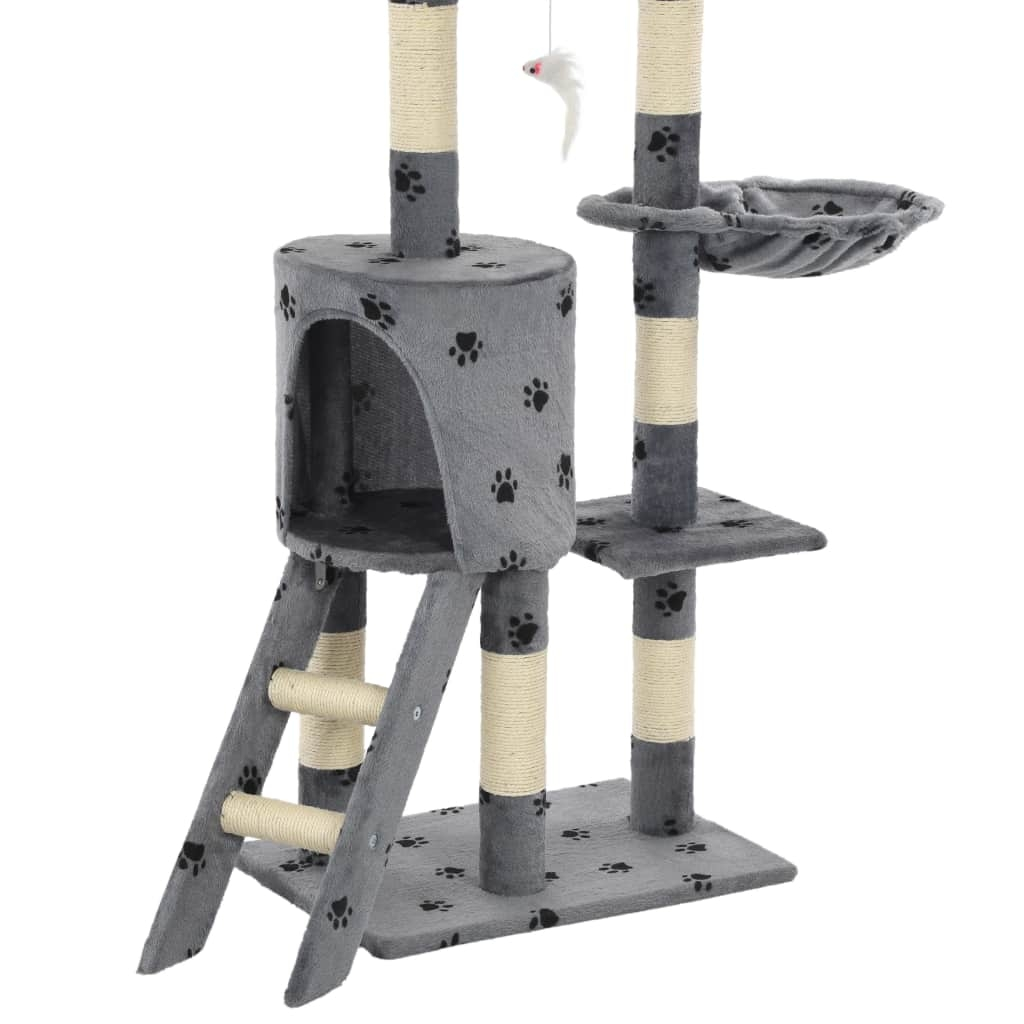 Drapak z sizalowymi słupkami, 138 cm, szary w kocie łapki