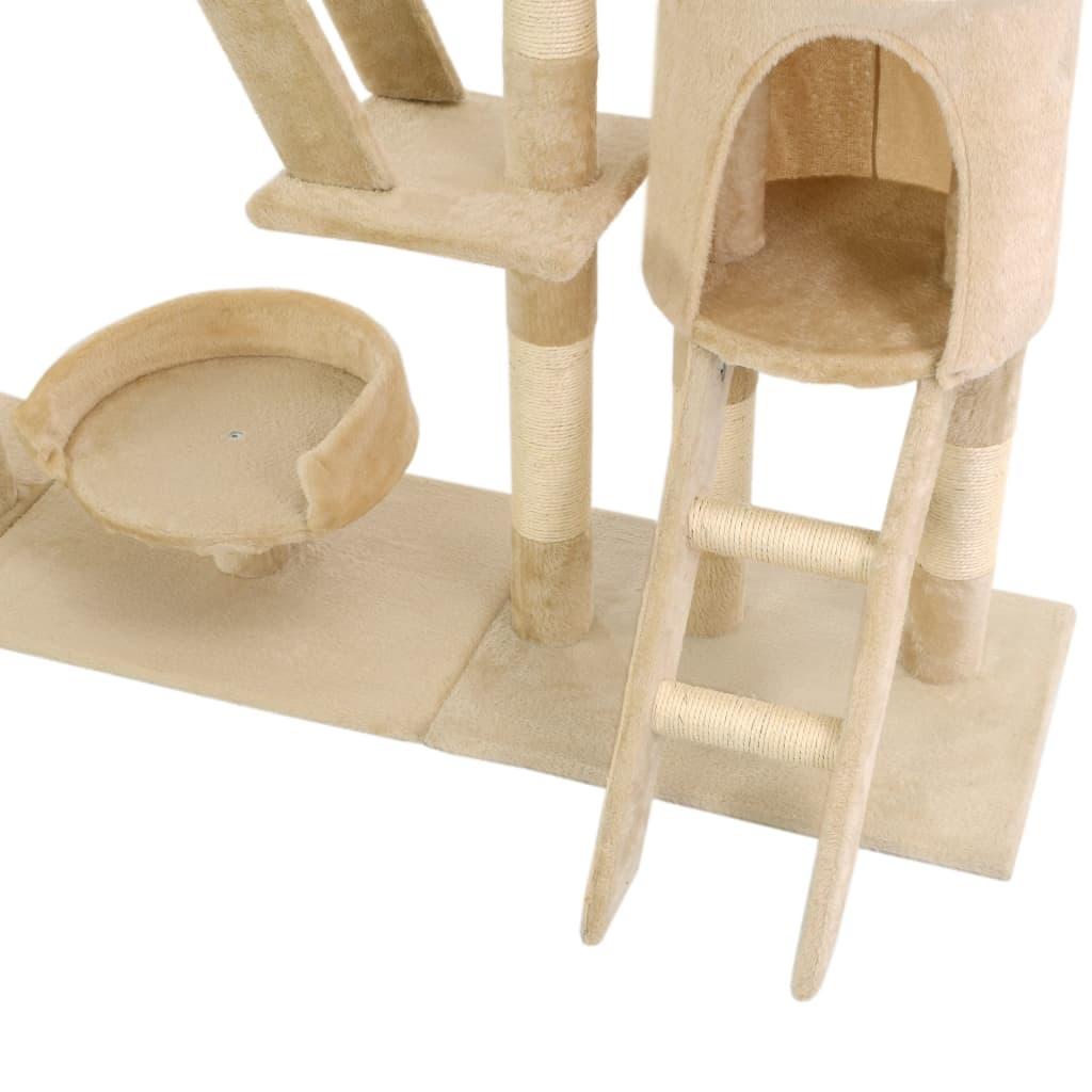 Drapak dla kota z sizalowymi słupkami, 230-250 cm, beżowy