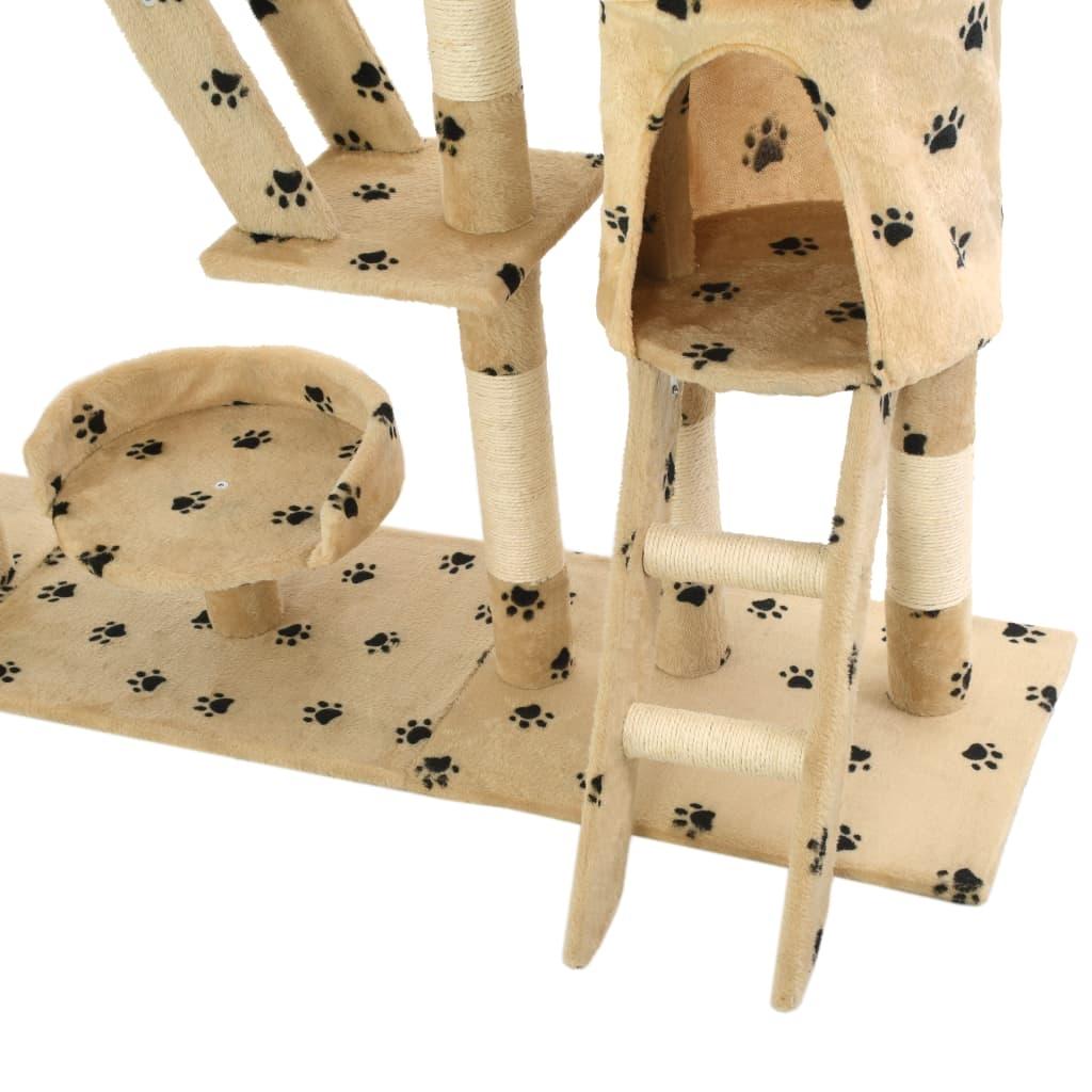 Drapak dla kota, sizalowe słupki, 230-250 cm, beżowy w łapki