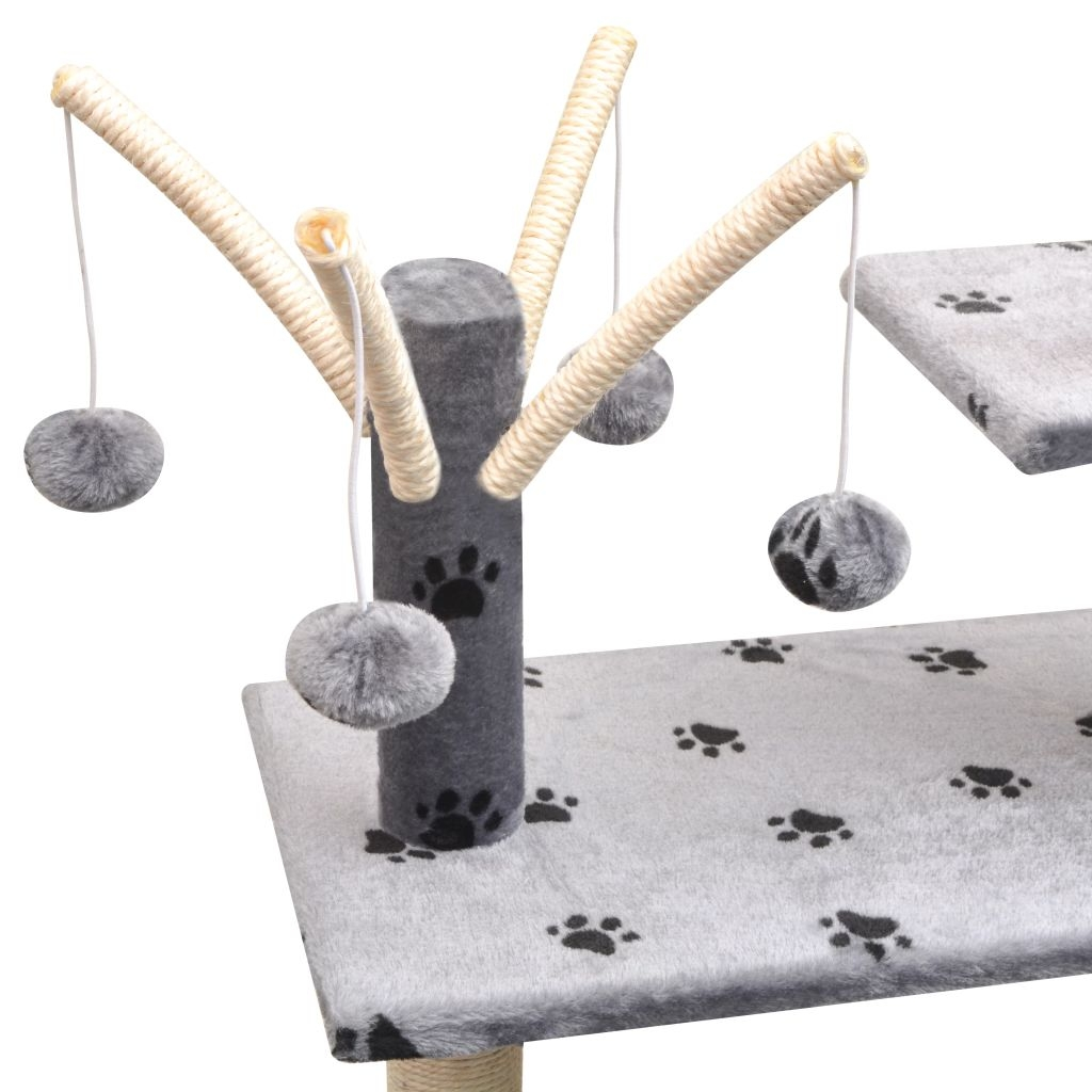 Drapak dla kota, 125 cm, szary z wzorem w kocie łapki