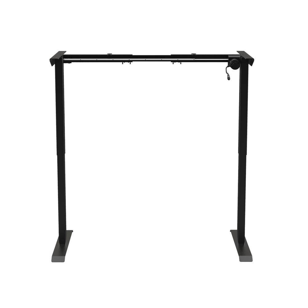 Stół podnoszony (regulowany) elektrycznie Acgam – dostosowuje się do różnych potrzeb (konstrukcja bez blatu) – czarny