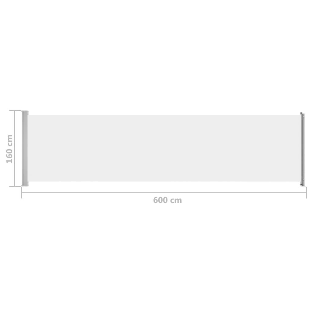 Wysuwana markiza boczna na taras, 600 x 160 cm, kremowa