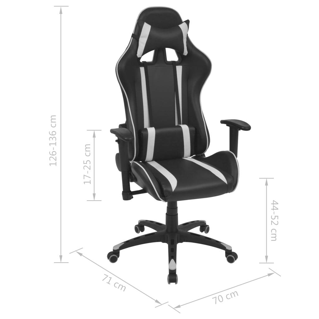 Rozkładane krzesło biurowe, sztuczna skóra, białe