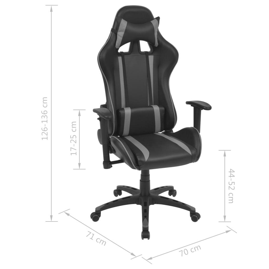 Rozkładane krzesło biurowe, sztuczna skóra, szare