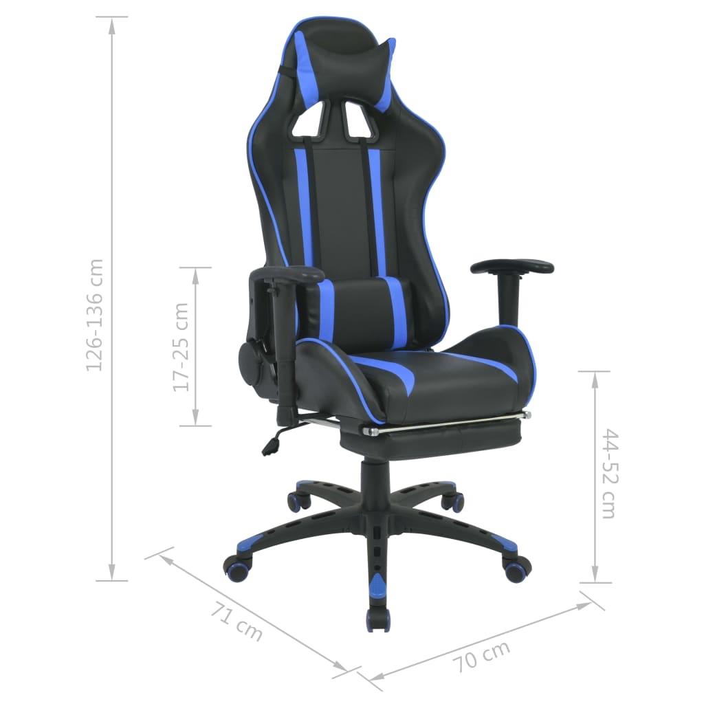 Regulowane krzesło biurowe z podnóżkiem, niebieskie