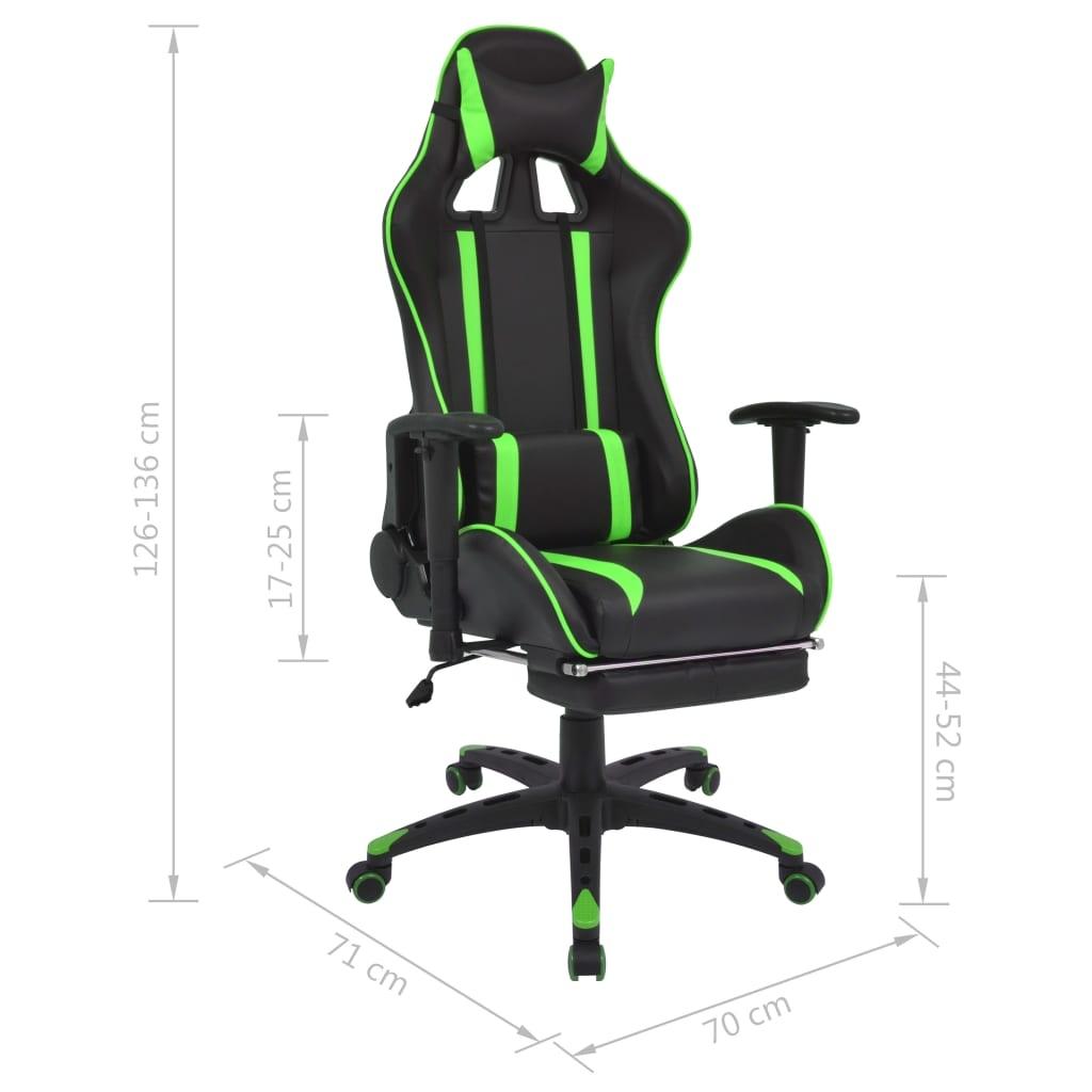 Regulowane krzesło biurowe z podnóżkiem, zielone
