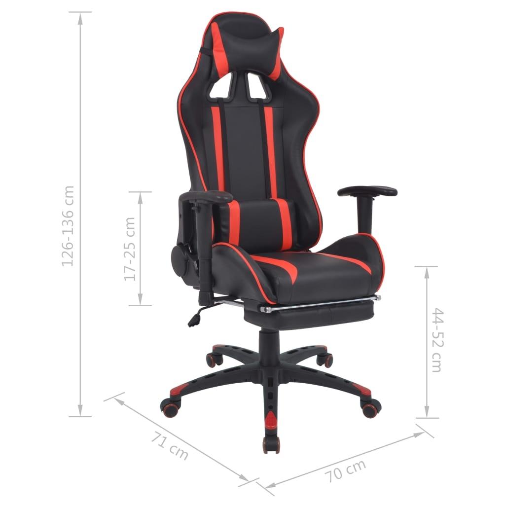 Regulowane krzesło biurowe z podnóżkiem, czerwone