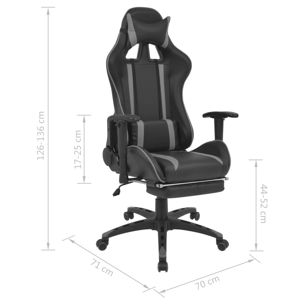 Regulowane krzesło biurowe z podnóżkiem, szare