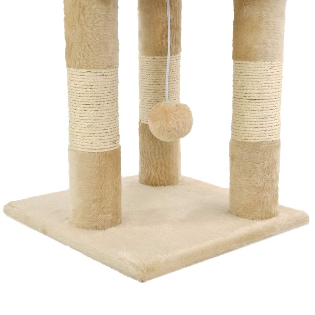 Drapak dla kota ze słupkami sizalowymi, 65 cm, beżowy