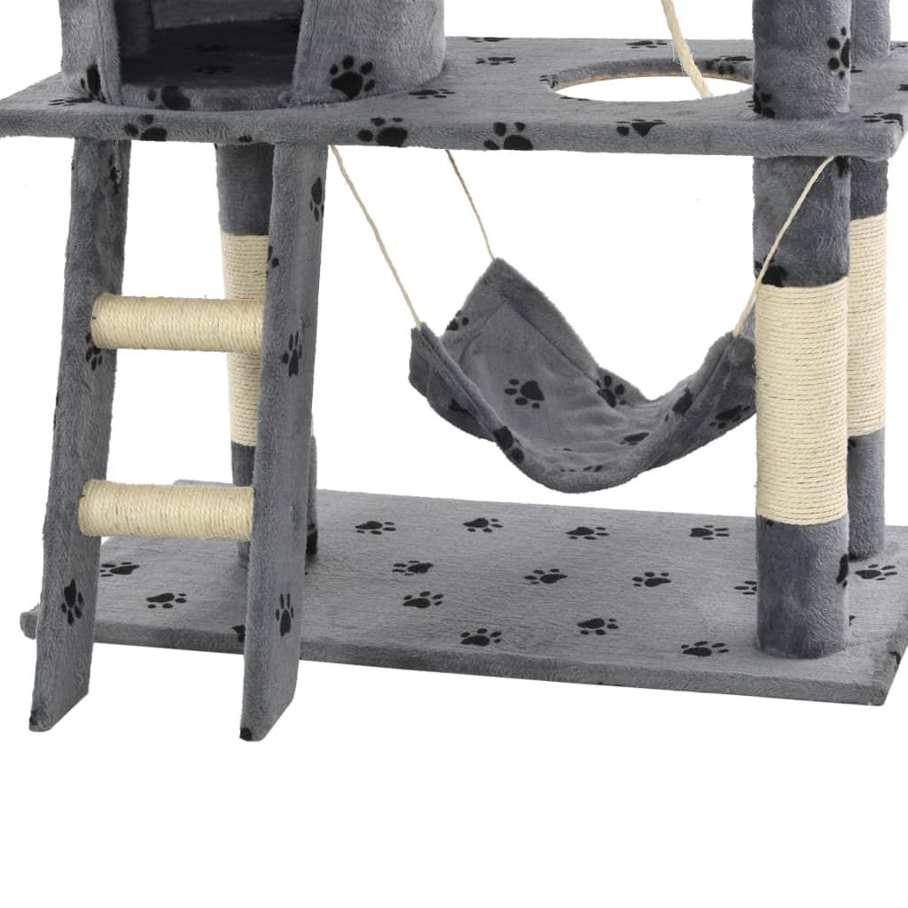 Drapak ze słupkami sizalowymi, 140 cm, szary w kocie łapki